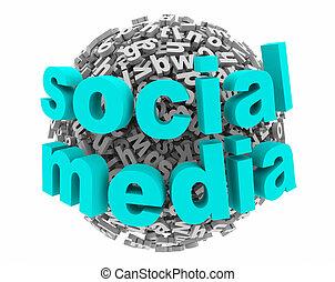 social, medios, red, comunicación, postes, 3d, ilustración