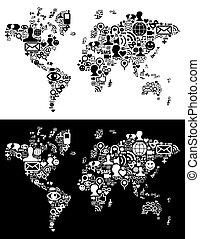 social, medios, red, iconos, en, mapa del mundo, figura