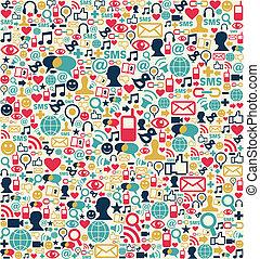 social, medios, red, iconos, patrón
