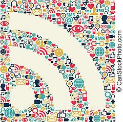 social, medios, rss, icono, textura