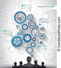 social, medios, y, nube, concepto, infographic, plano de...
