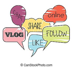 social, mensaje, nube, discurso