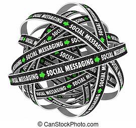 social, mensajería, comunicación, lazo, red, 3d, ilustración