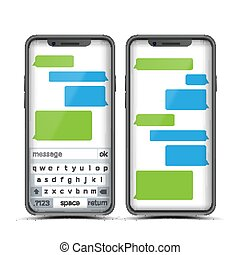 Social Messenger Vector. Speech Bubbles Constructor. Realistic Modern Mobile Application Messenger Interface. Smartphone With Chat On Screen. Empty Text Boxes. Illustration