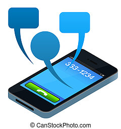 Social Mobile Phone - Abstract Mobile Phone Concept with...