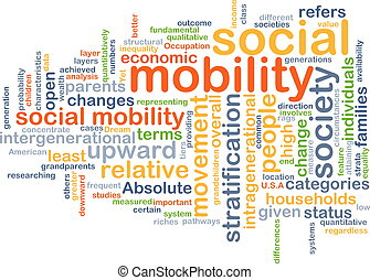 Social mobility wordcloud concept illustration
