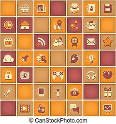 social, modèle, carrée, gestion réseau
