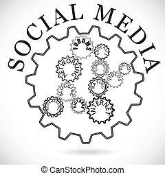 social, mostrado, dente, trabalhando, comunidade, mídia,...