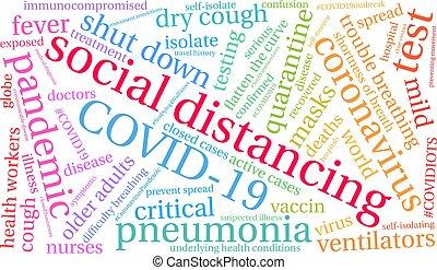 social, mot, distancing, nuage