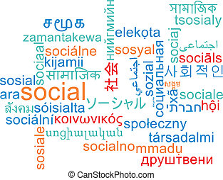 Social multilanguage wordcloud background concept