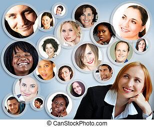 social, nätverk, av, businesswoman.