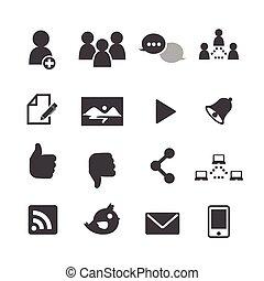 social, nätverk, ikonen