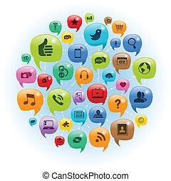 social, nätverk, konversation