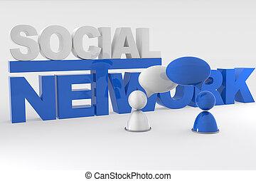 Social Network - 3D Image Of Virtual Men With Speech Bubbles