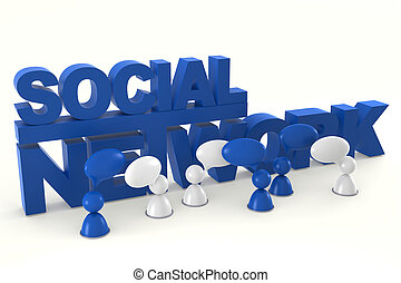 Social Network - 3D Image Of Virtual Men With Speech Bubbles