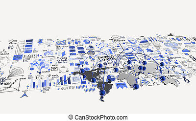 social network 3d on world map and hand drawn business strategy as concept