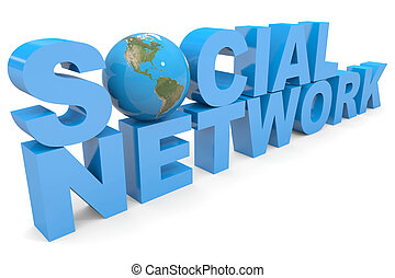 Social Network 3d text.  Earth globe replacing letter O.