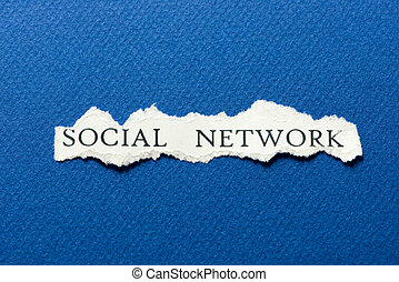 Social network - A scrap of paper with the words social...