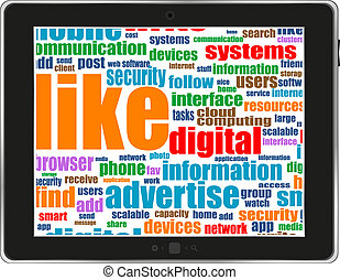 social network and connected words on touch-screen tablet-pc