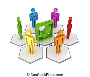 Social network and green tick mark. 3d rendered.Isolated on...