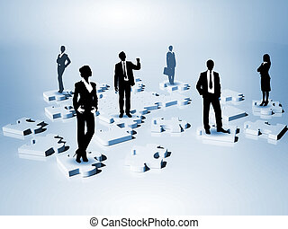 Symbol of social network and human figures