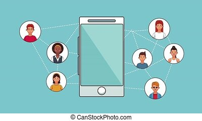 Social network and smartphone HD animation - Social network...