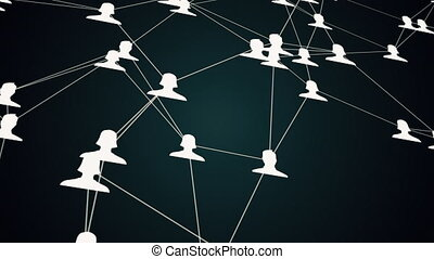social network animation, slow motion of connected user...