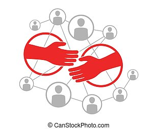 Social network scheme with hadshake - vector illustration of people community, which contains people icons or avatars connected to each other by lines with two people in friendship or cooperation - Vector illustration