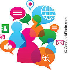 Social network backgound with media icons - Social network ...