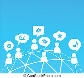 Social network background with media icons