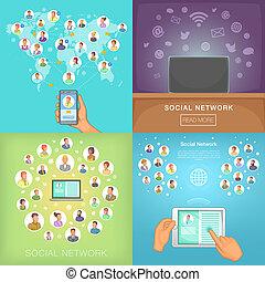Social network banner set, cartoon style