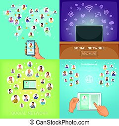 Social network banner set, cartoon style