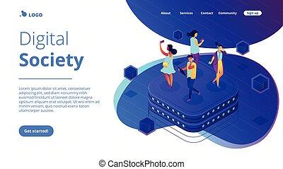Social network behavior isometric 3D landing page. -...