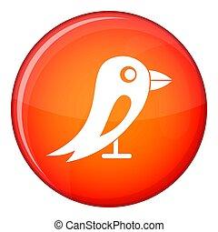 Social network bird icon, flat style