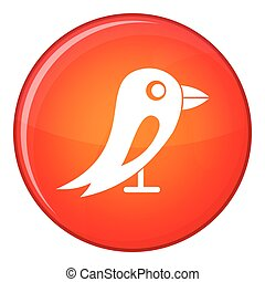 Social network bird icon, flat style