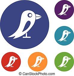 Social network bird icons set