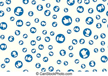 Social Network blue Like icons for live stream video chat likes design template. Seamless pattern Elements for Web, App, Poster, Brochure, Flyer isolated on white background.