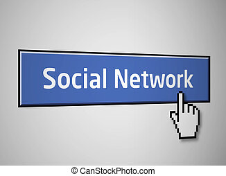 Social network button - Social network blue button with...