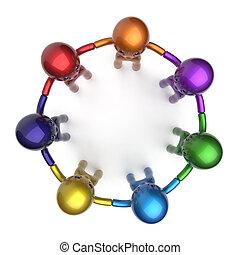 Social network characters circle teamwork diverse friends