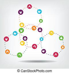 Social Network Circles illustration
