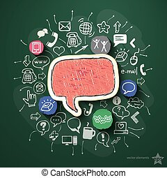 Social network collage with icons on blackboard. Vector...
