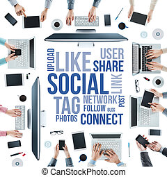 Social network community - Business people social networking...