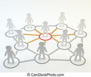 Social network community head men on white background, 3d...