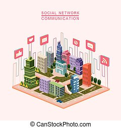 social network concept 3d isometric infographic