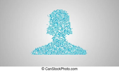 Social network concept, a lot of avatars make closeup...