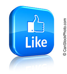 Social network concept: blue Like button - Social media and...
