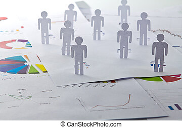 Social Network concept : close up of people cut out of paper...
