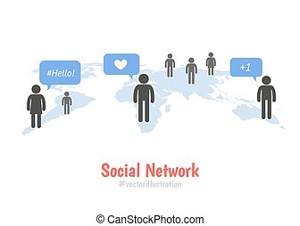 Social network concept. Colorful Pictogram people on world map