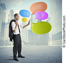 Social network concept - Concept of social network with...