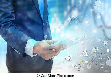 Social network concept. data communication. business world